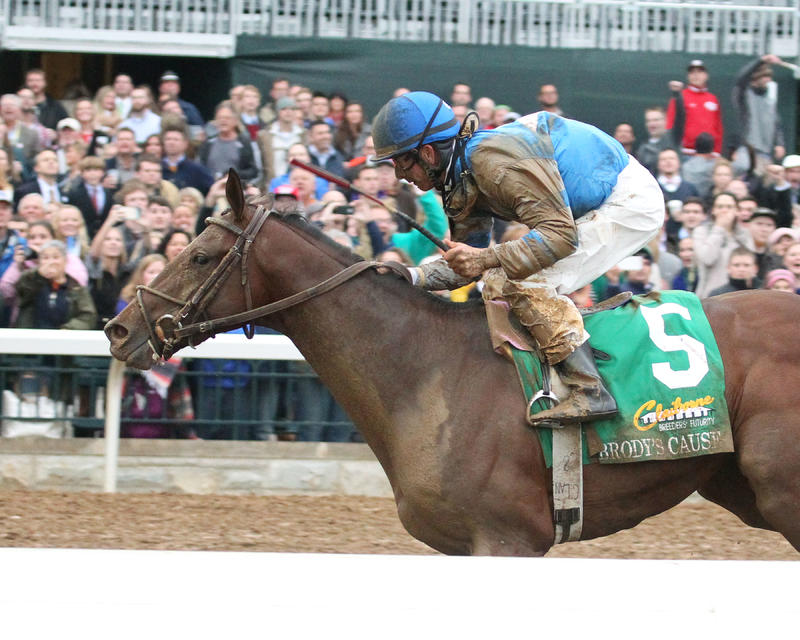 BRODY'S CAUSEThe Claiborne Breeders' Futurity Gr I - 102nd RunningKeeneland Race Course     Lexington, KentuckyOctober 3, 2015    Race #08Purse $500,0001-1/16 Miles  1:43.27Albaugh Family Stable, OwnerDale L. Romans, TrainerCorey J. Lanerie, JockeyEx
